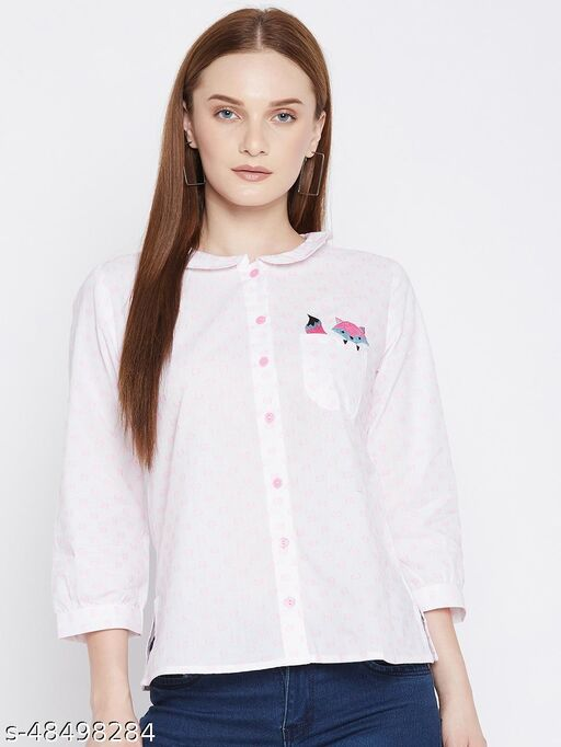 Ruhaan's Womens Cotton Embroidered White and Pink Shirt