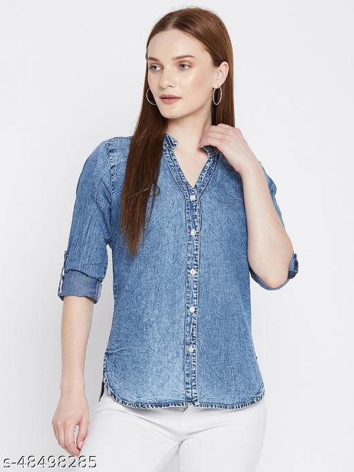 Ruhaan's Womens Denim Blue Shirt