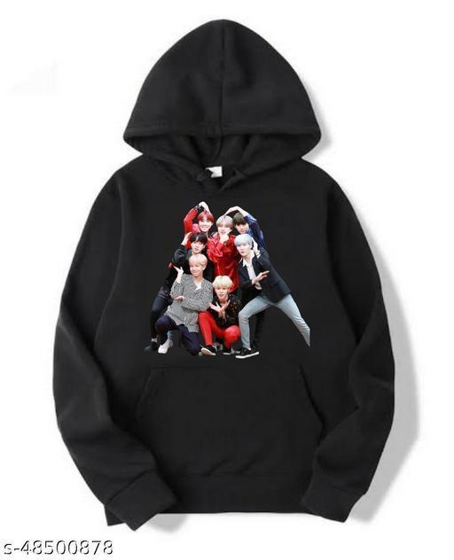 MG Brand BTS Bangtan Boys Love Yourself Kpop Fan Art Unisex Black Cotton Hooded Hoodie for Girls / Boys / Kids / Women / Men MG-09