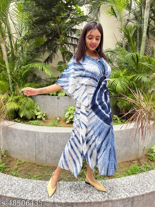 Latest Trendy Hand Block Bagru & Indigo-Shibori Print Kaftan Top for women_SF-138 dress