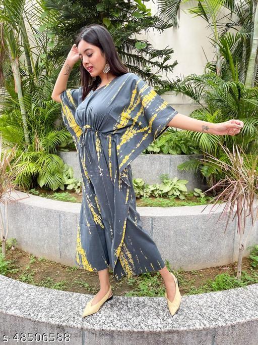 Latest Trendy Hand Block Bagru & Indigo-Shibori Print Kaftan Top for women_SF-141