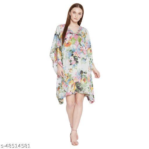 Ruhaan's Womens Polycrepe Mirror Worked Digital Printed Multi Kaftan Dress
