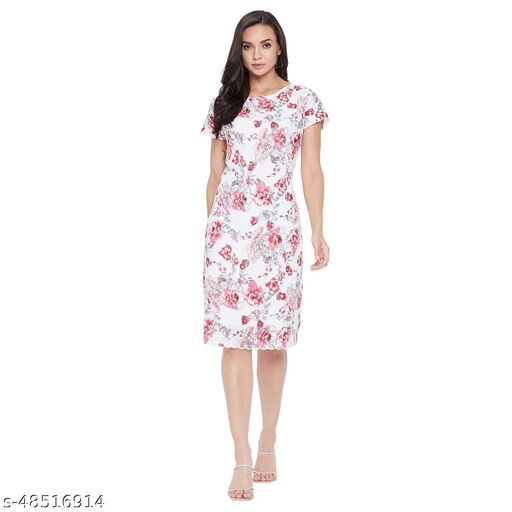 Rain Tree Womens Cotton Schiffli Floral With Lace Work With Cotton Lining White and Pink Dress