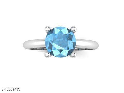 Ratnavali Arts Natural Blue Topaz Gemstone 925 Sterling Silver Ring  For Woman