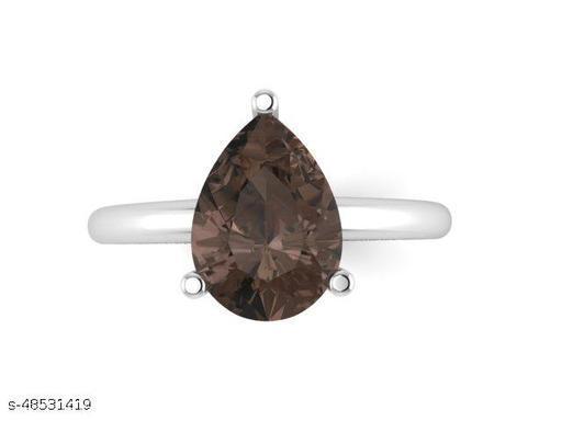 Ratnavali Arts Natural Smoky Gemstone 925 Sterling Silver Ring  For Woman