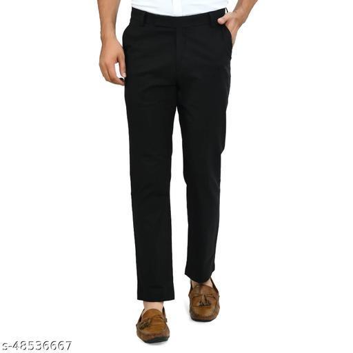 Delexo Men's Black Linen Formal Pants