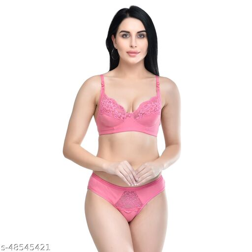 Women Solid Pink Hosiery Lingerie Set