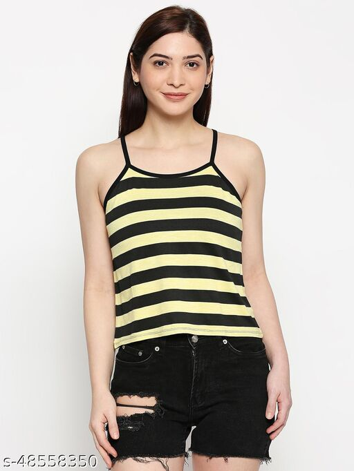 inocenCia Stripe Viscose Blended Yellow Black Camisole for Women