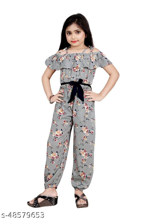 R K Maniyar Girl's Special Pure Rayon Flower Printed Jumpsuit With Separate Belt.