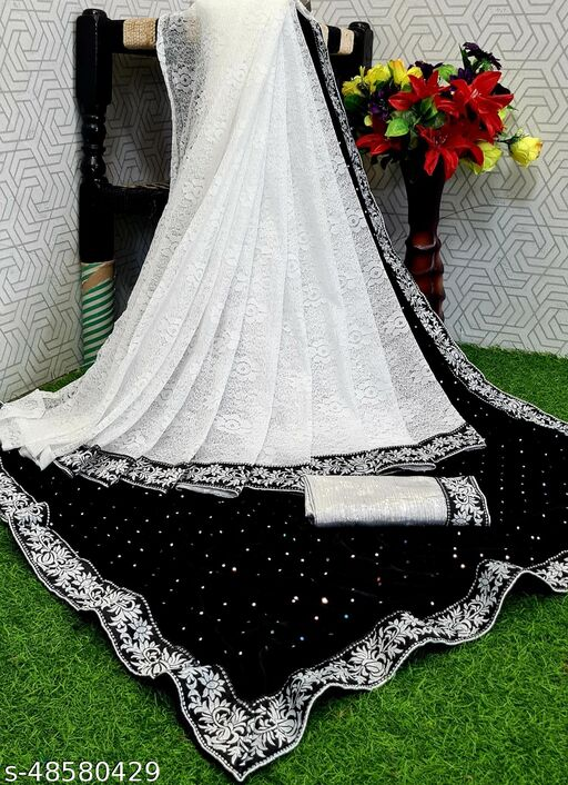 Apnisha Women's Velvet & Rasal Net Half & Half Saree (Black _Free Size)