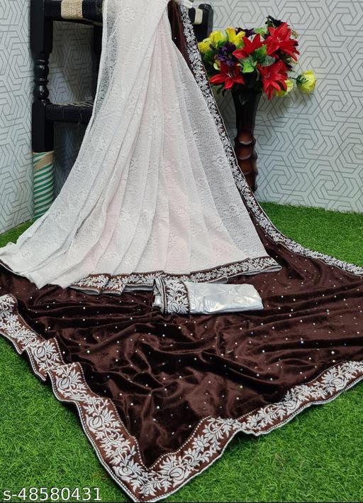Apnisha Women's Velvet & Rasal Net Half & Half Saree (Coffee _Free Size)