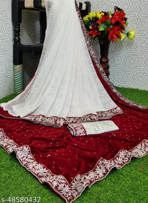 Apnisha Women's Velvet & Rasal Net Half & Half Saree (Maroon _Free Size)