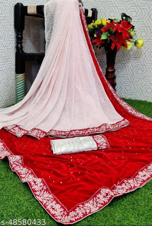 Apnisha Women's Velvet & Rasal Net Half & Half Saree (Red _Free Size)