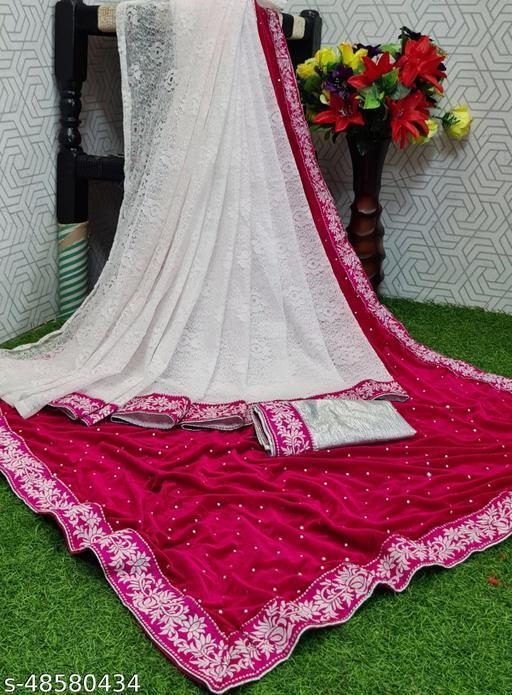 Apnisha Women's Velvet & Rasal Net Half & Half Saree (Pink _Free Size)