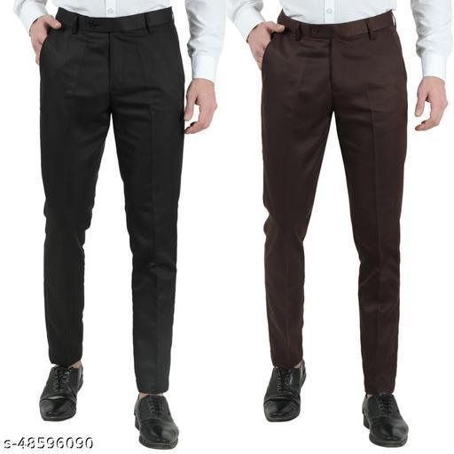 VEI SASTRE BLACK and BROWN Combo Slim Fit Formal Trouser for Men