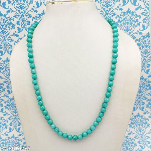 Satyam's Glass Blue Beads Necklace for Women