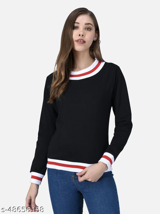 The Dry State Women Solid Black Sweatshirt