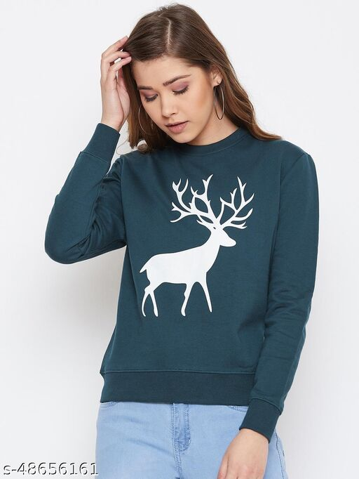 The Dry State Women Printed Teal  Sweatshirt