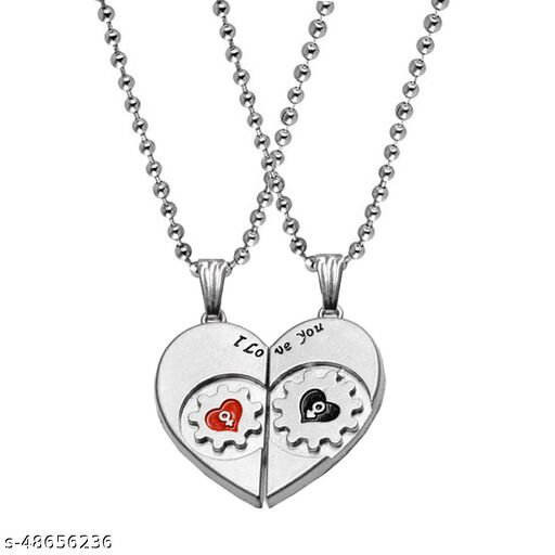 Valentine Gift Love You Heart And Key Engraved Dual Locket Pendant Necklace Chain Unisex Jewellery 1 Pair For His And Her For Couple Husband Wife Boyfriend Girlfriend Boys Girls