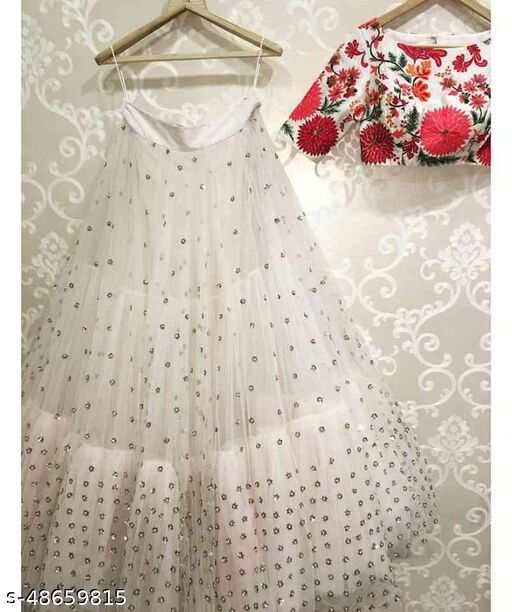 White Colored Embroidered Work Attractive Party Wear Lehenga Choli --LC246