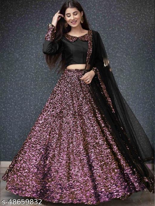 Violet and black Velvet Semi-stitched Lehenga Choli LC 289