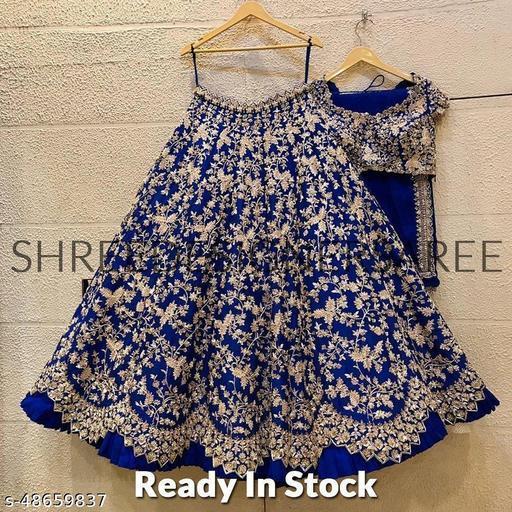 Blue Colored Party wear Designer Embroidered Malay Satin Silk Lehenga Choli LC 297