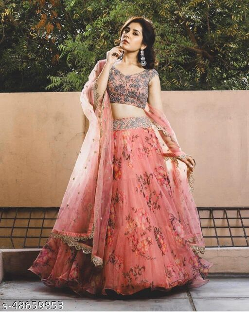 Pink Colored Partywear Designer Embroidered Net with silk Lehenga Choli LC 276