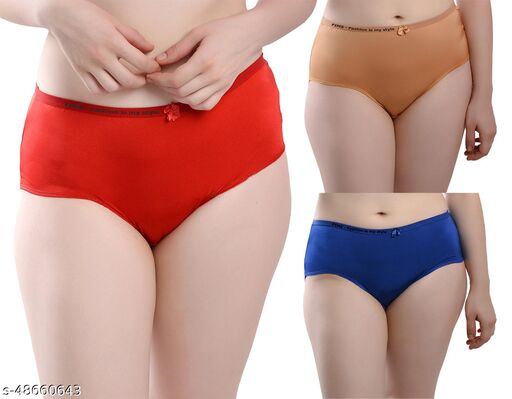 Women Seamless Multicolor Satin Panty (Pack of 3)