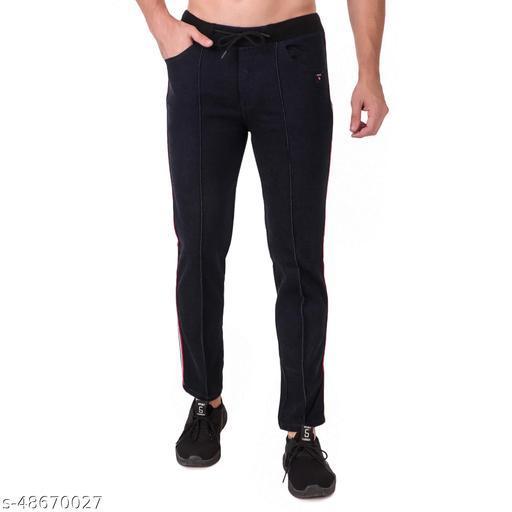 Delexo Men's Black Denim Track Pant