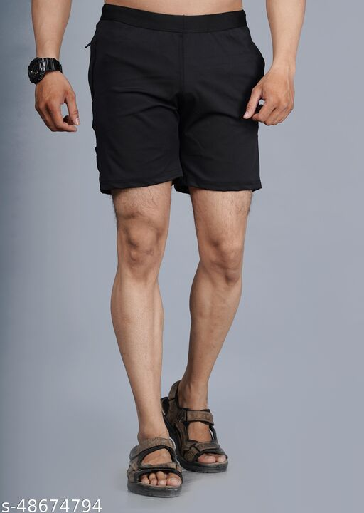 Solid Men Black Regular Shorts