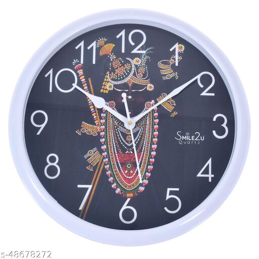 Smile2u Shreenathji Wall Clock for Plastic Designer Wall Clock (29x29.cm) with Glass for Home/Bedroom/Living