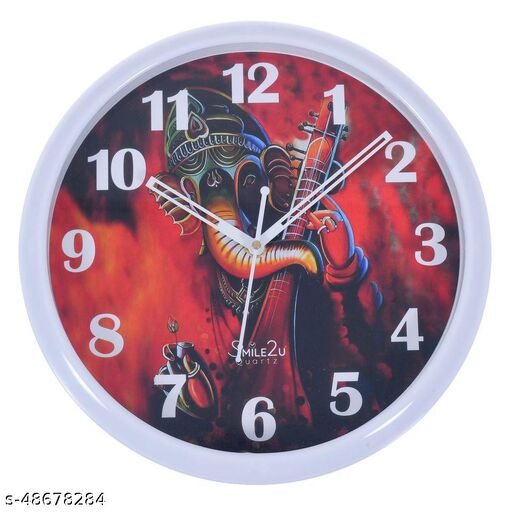 Smile2u Ganesh Wall Clock for Plastic Designer Wall Clock (29x29 cm) with Glass for Home/Bedroom/Living Room/Kitchen/Office