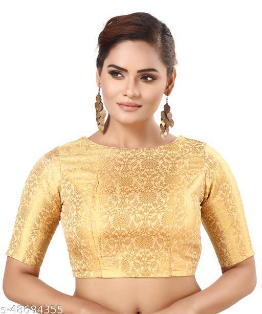 MADHU FASHION Golden Brocade Readymade Saree Blouse