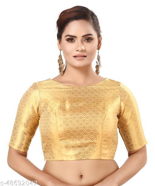 MADHU FASHION Golden Banaras Brocade Readymade Saree Blouse