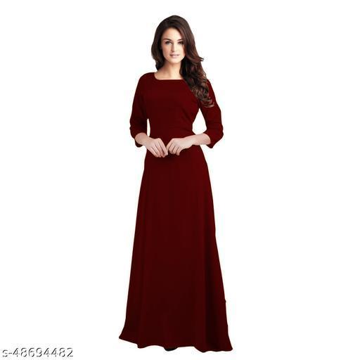 Manshav Women Cotton Maroon Color Western Stylish  Party Wear Maxi Dress