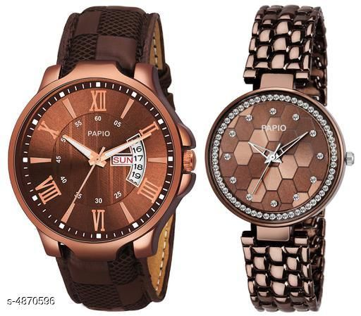 Attractive Analouge Couple Watches Combo