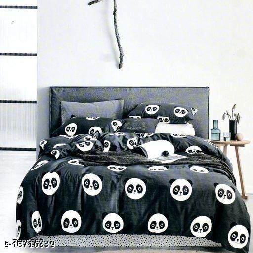 Fashionable Cartoon Printed Glace Cotton BedSheet With Pillow Covers