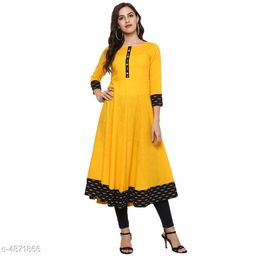 Women Cotton Blend Flared Printed Yellow Kurti