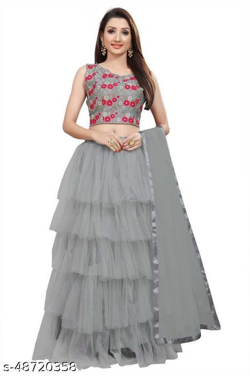New Fancy Net Lengha Choli - Grey