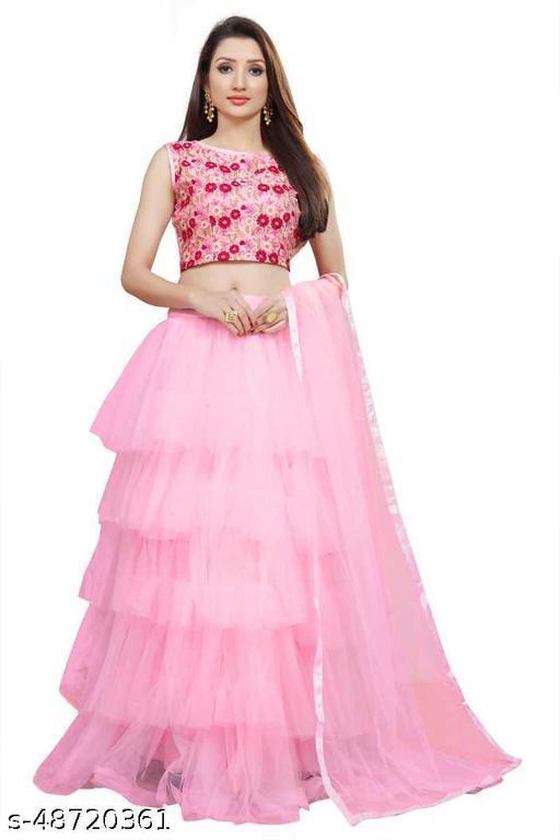 New Fancy Net Lengha Choli - Pink