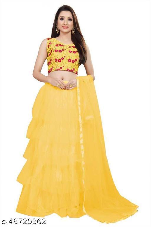 New Fancy Net Lengha Choli - Yellow