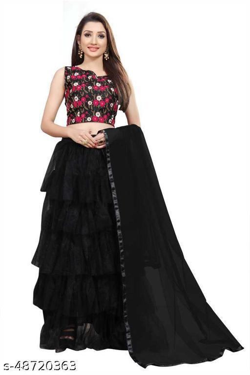 New Fancy Net Lengha Choli - Black