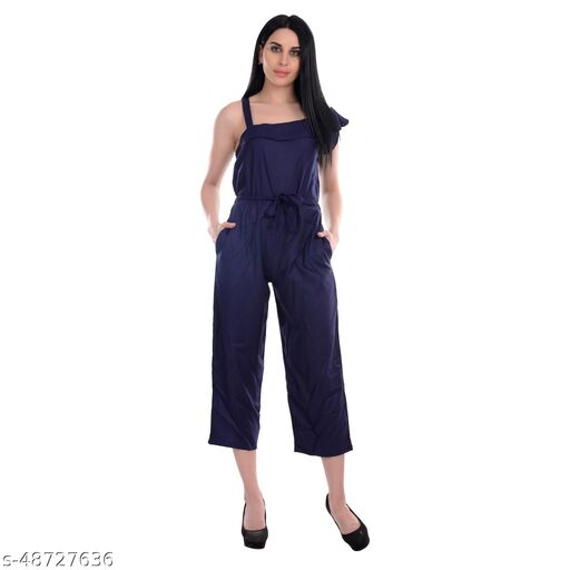 Gospel One Piece Sleeveless Jumpsuit For Women, Very Casual And Sexy Solid Elasticated Waist Or Belted Jumpsuits   Navy Blue