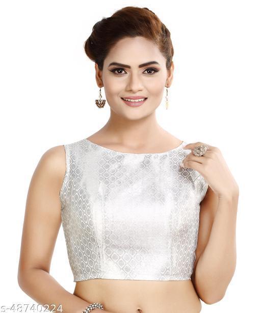 MADHU FASHION Silver Brocade Sleeveless Readymade Saree Blouse