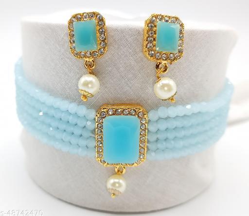 A.D.CHOKER LIGHT BLUE Jewellery Set