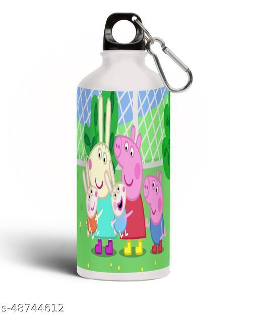 PARTY GLITERS Peppa Pig Printed Aluminium 600ml White Sipper Bottle/Water Bottle for Kids share Smile- Best Birthday Gift for Boys, Girls, Kids, Return Gift - PIG-74