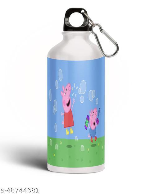 PARTY GLITERS Peppa Pig Printed Aluminium 600ml White Sipper Bottle/Water Bottle for Kids share Smile- Best Birthday Gift for Boys, Girls, Kids, Return Gift - PIG-01