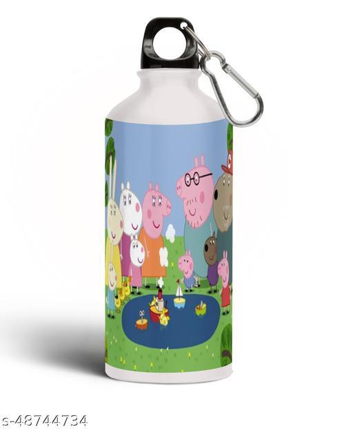 PARTY GLITERS Peppa Pig Printed Aluminium 600ml White Sipper Bottle/Water Bottle for Kids share Smile- Best Birthday Gift for Boys, Girls, Kids, Return Gift - PIG-70
