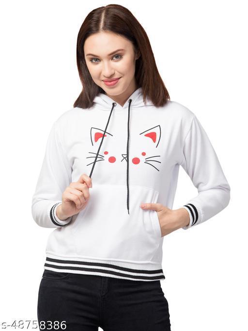 Trendy Cat Printed Full Sleeve White Hoodie For Women