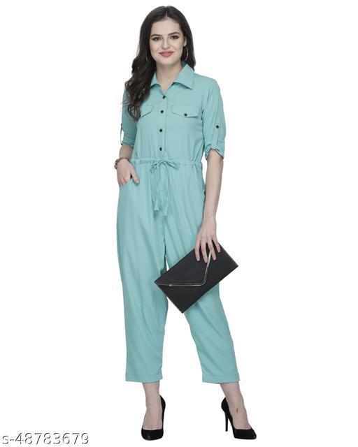 Sayesha Turquoise Plain American Crepe Jumpsuit